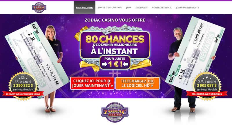 80 chances de gagner des millions chez Zodiac Casino