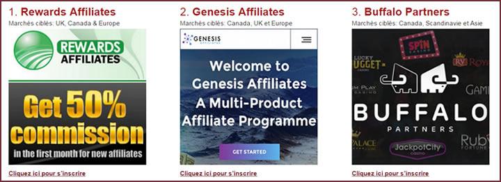 La liste des programmes d'affiliation dédiés aux casinos en ligne
