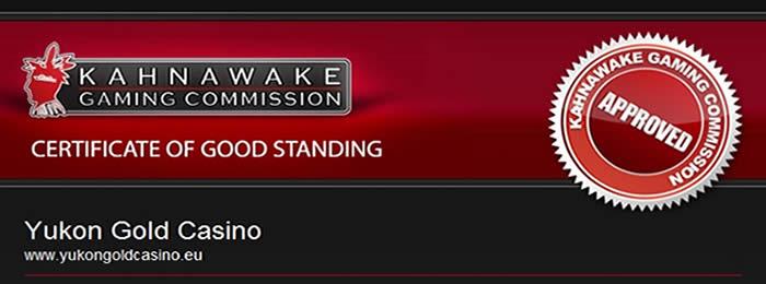 Le certificat de Gaming Club au  Kahnawake
