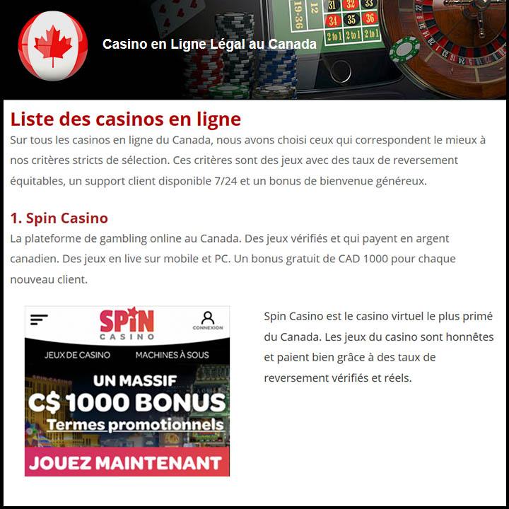 Le site Spin Casino est considéré être le casino en ligne légal du Québec le plus satisfaisant